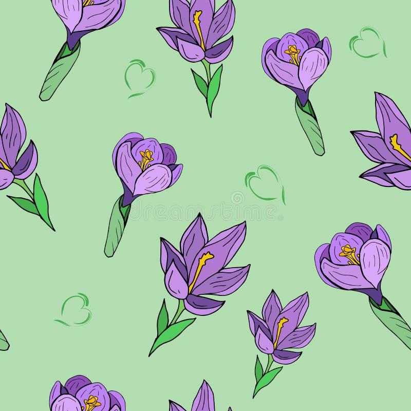 Naadloze patroonkrokus op groene achtergrond royalty-vrije illustratie