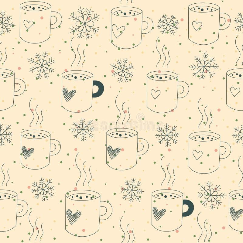Naadloze patroonmokken en sneeuw stock illustratie