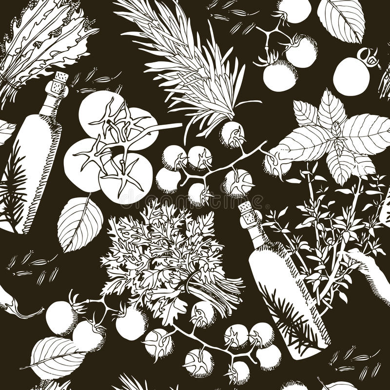 Naadloze patroonolijfolie en van de tomatenhand tekeningsstijl vector illustratie