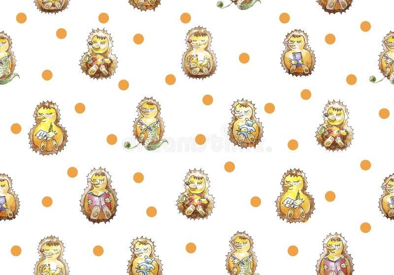 Naadloze patroonreeks van een familie van zeven vriendschappelijke egels die pret heeft Het lezen, het breien, het eten, het slap royalty-vrije illustratie