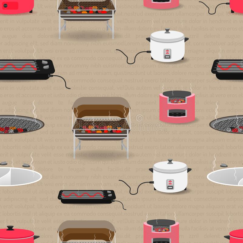 Naadloze patroonreeks van keukenmateriaal met pan van de de broodroosterhoutskool van de boilertank de rijstkooktoestel Vector il royalty-vrije stock afbeelding