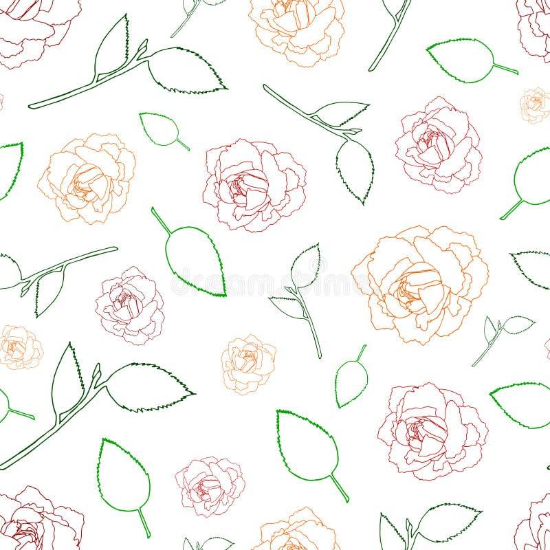 Naadloze patroonrozen en bladeren op een wit stock illustratie