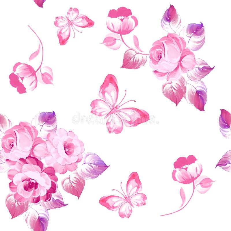 Naadloze patroonrozen en vlinders Het Schilderen van de waterverf Vec vector illustratie