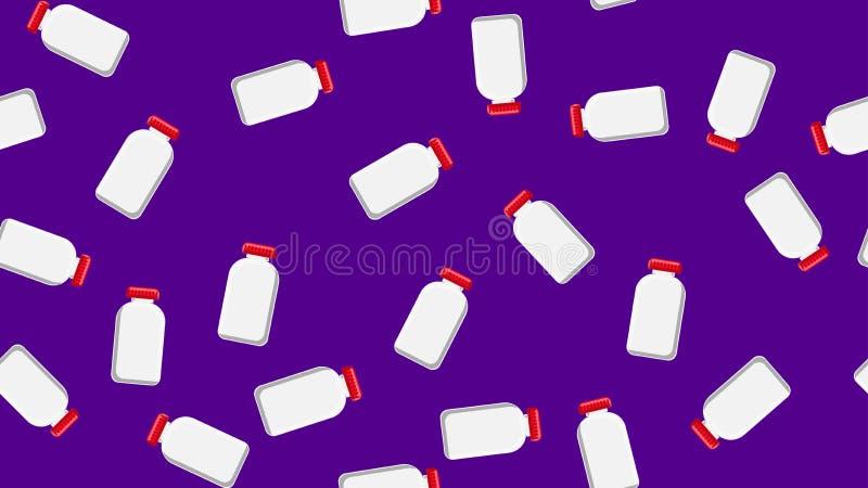Naadloze patroontextuur van witte plastic medische pharmacetic kruiken met deksels van medicijn, drugs op een purpere achtergrond stock illustratie