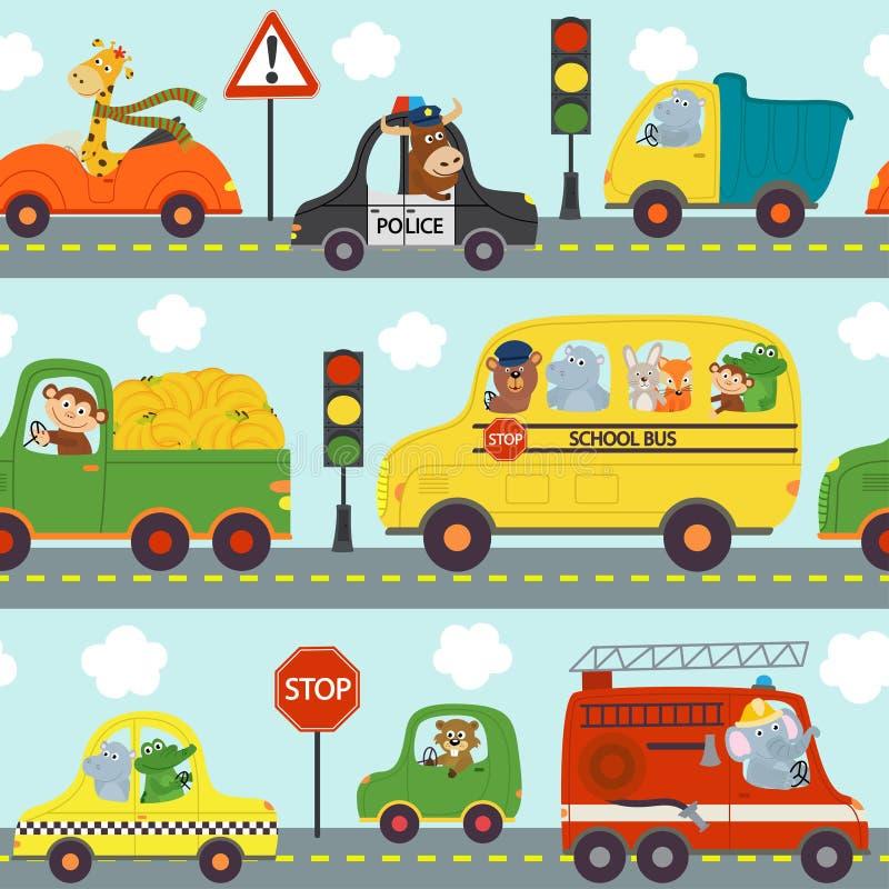 Naadloze patroontransporten met dieren in stad royalty-vrije illustratie