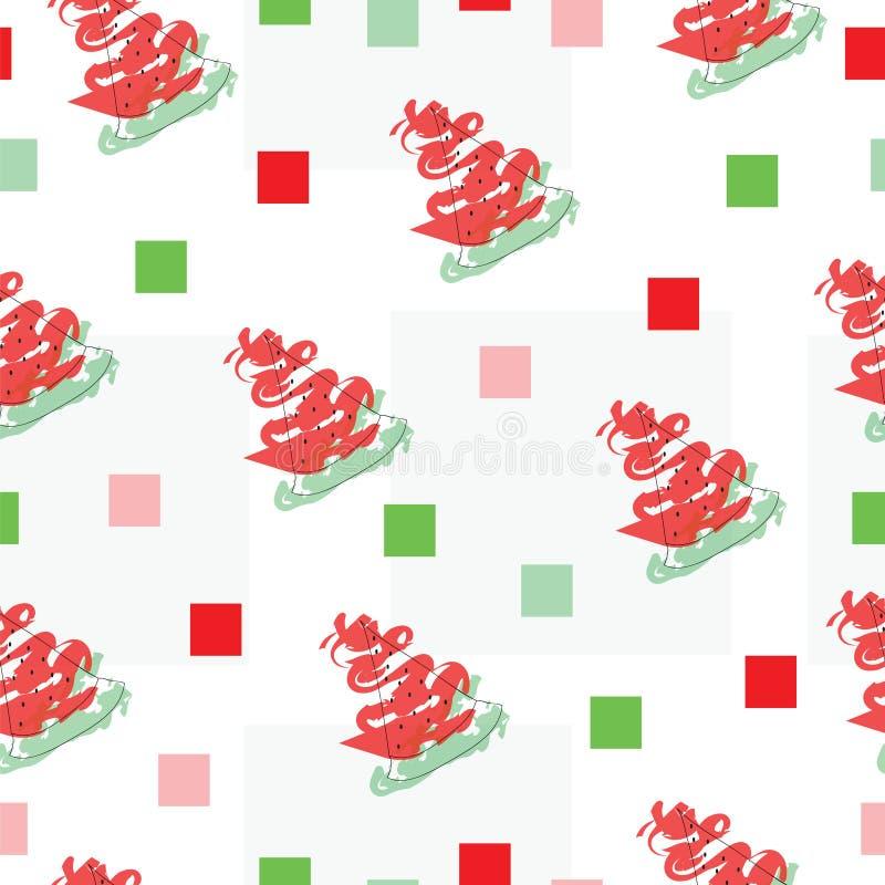 Naadloze patroonvector met watermeloenfruit en vierkanten vector illustratie