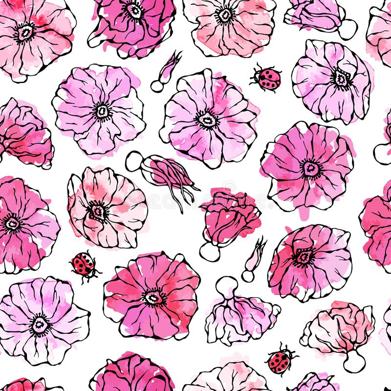Naadloze Patroonwaterverf Wilde Rose Pink Flower De hond nam, Briar Leaf toe Het botanische schilderen Realistische getrokken han stock illustratie