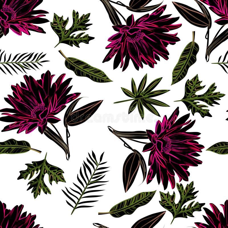 Naadloze patroonzonnebloem met bladerenontwerp vector illustratie