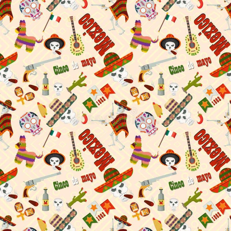 Naadloze pattern_1_illustration in vlakke stijl, het thema van de viering van Cinco DE Mayo, bestaat uit illustraties van Mexicaa vector illustratie