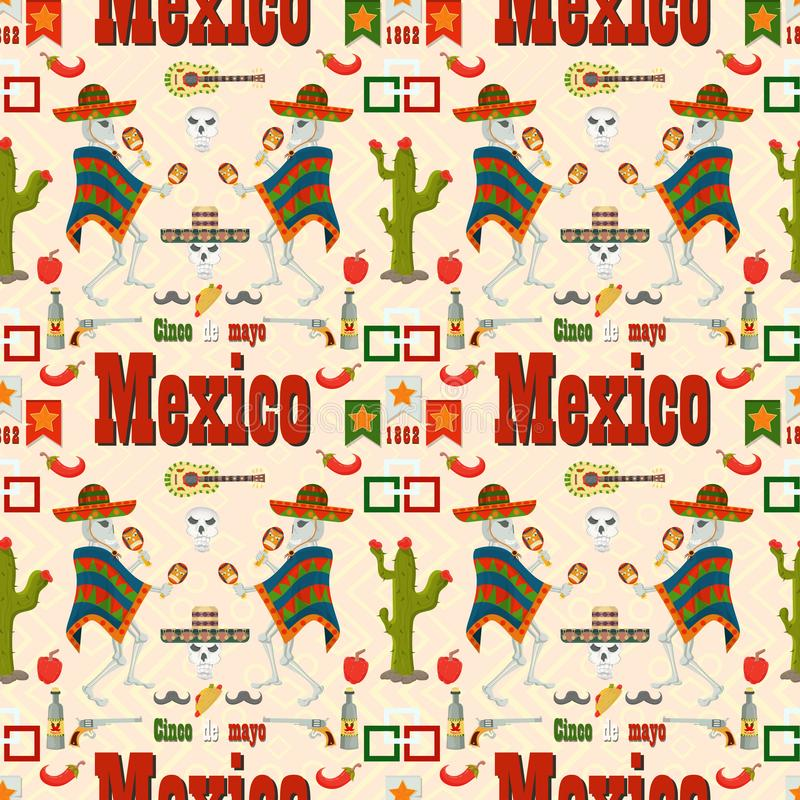 Naadloze pattern_7_illustration in vlakke stijl, het thema van de viering van Cinco DE Mayo, bestaat uit illustraties van Mexicaa stock illustratie