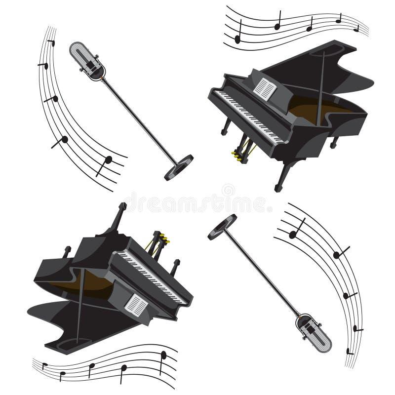 Naadloze pianopatroon en microfoon met nota's Vector beeld royalty-vrije illustratie