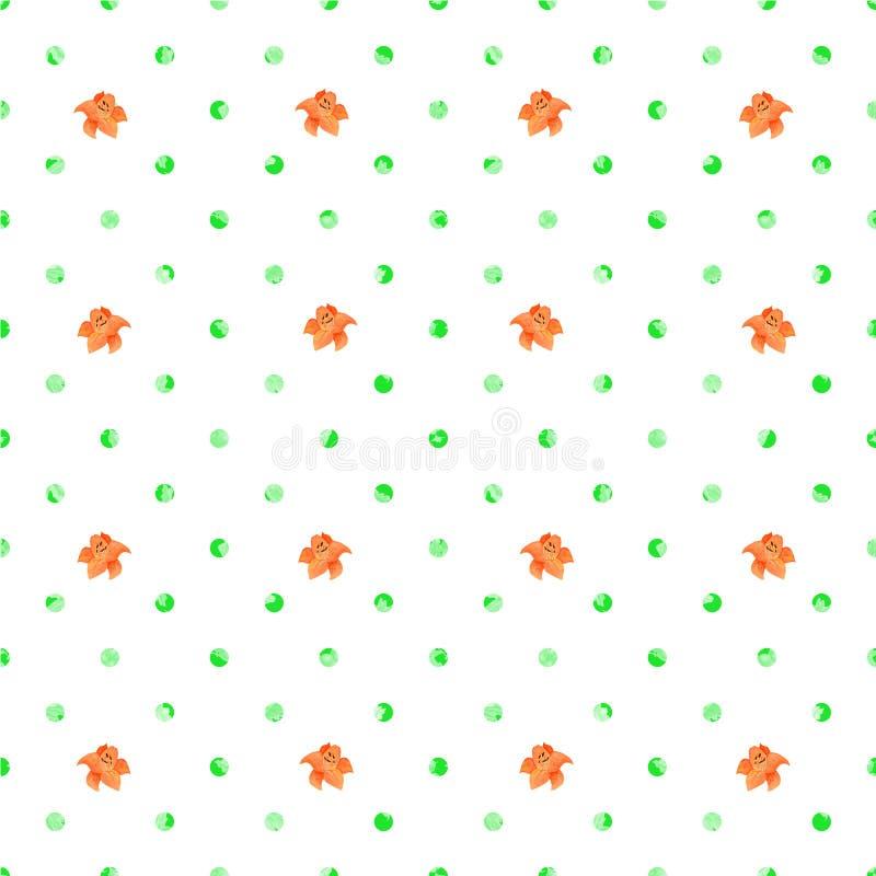 Naadloze Polka Dot Texture met kleine lelies Witte achtergrond stock illustratie