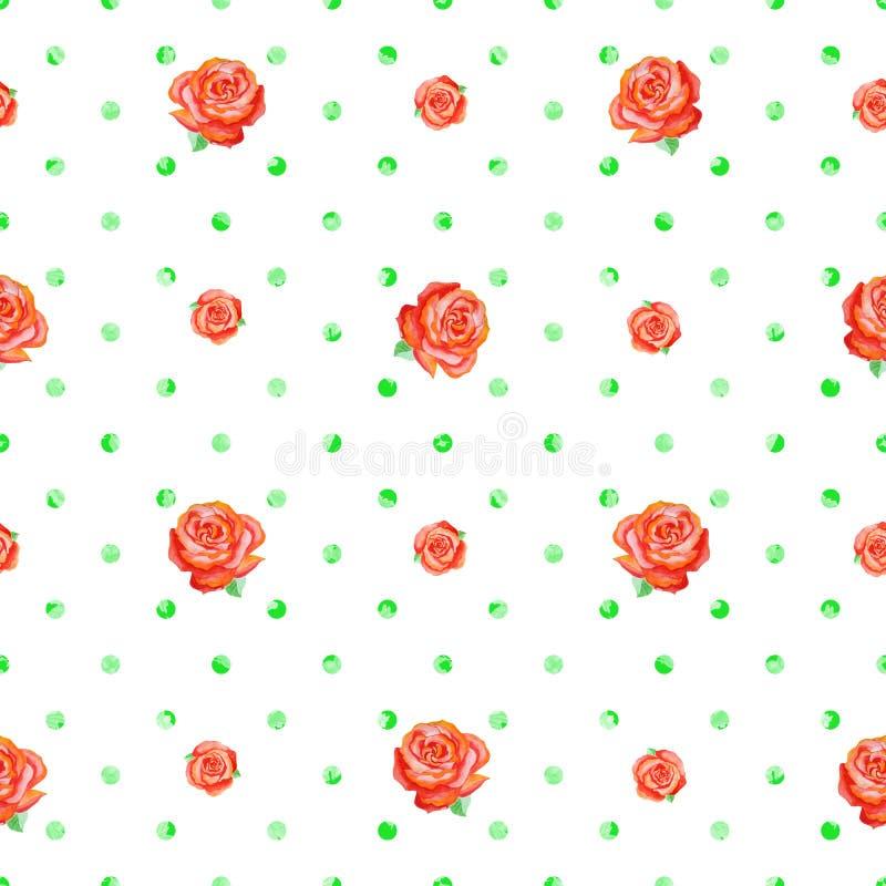 Naadloze Polka Dot Texture met rode rozen van verschillende grootte vector illustratie