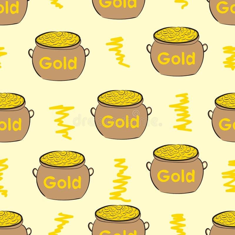 Naadloze potten met goud stock illustratie