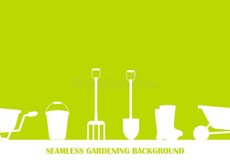 Naadloze reeks hulpmiddelen om te tuinieren Het tuinieren inzameling Pictogramsilhouet stock illustratie