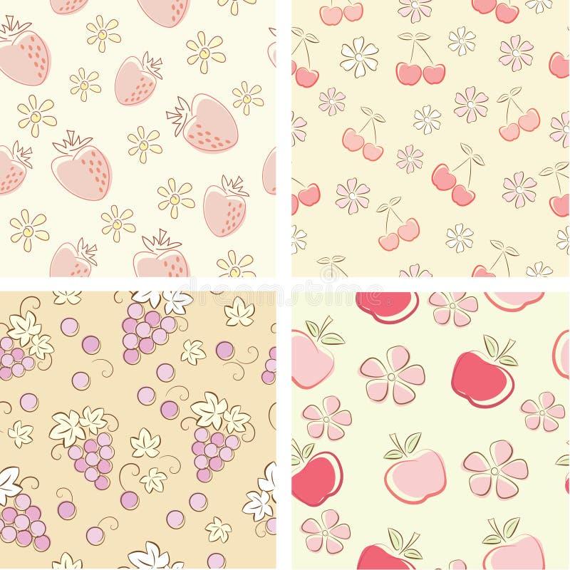 Naadloze reeks van retro fruit vector illustratie