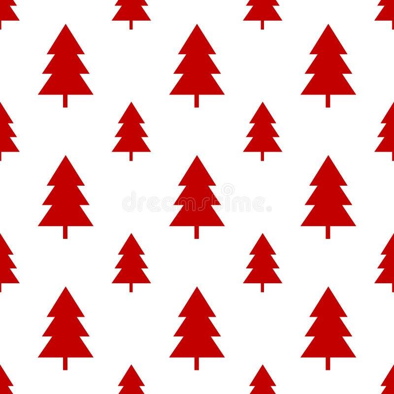 Naadloze rode Kerstmisboom op wit stock fotografie