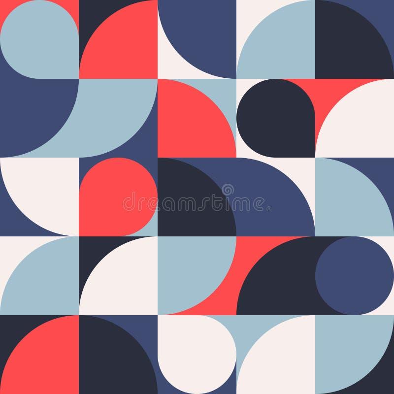 Naadloze rood-blauwe abstracte geometrische druk Vector multi gekleurde illustratie Origineel geometrisch patroon royalty-vrije stock foto
