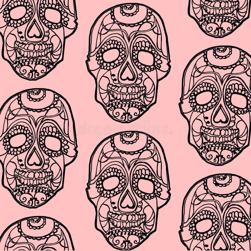Naadloze roze en zwarte achtergrond met schedels stock foto