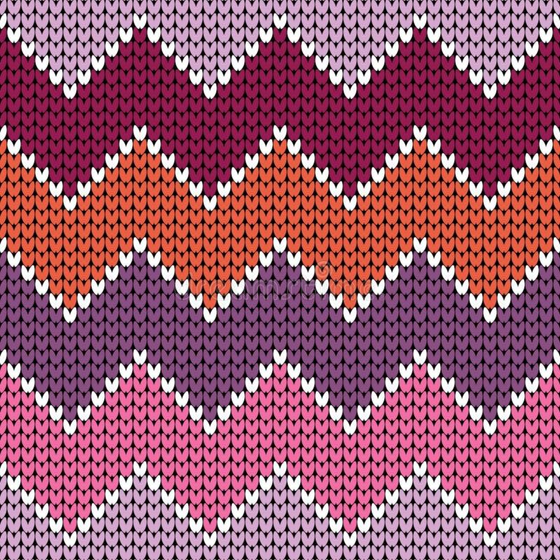 Naadloze Roze Oranje Purple van de Patroon Grote Gebreide Zigzag royalty-vrije illustratie