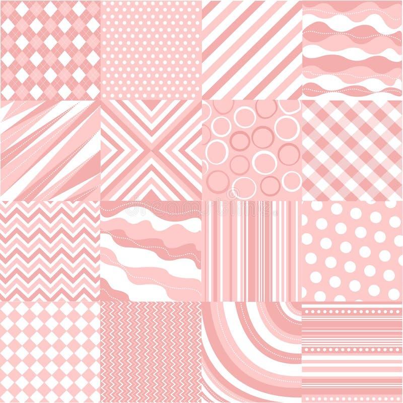 Naadloze roze patronen met stoffentextuur stock illustratie