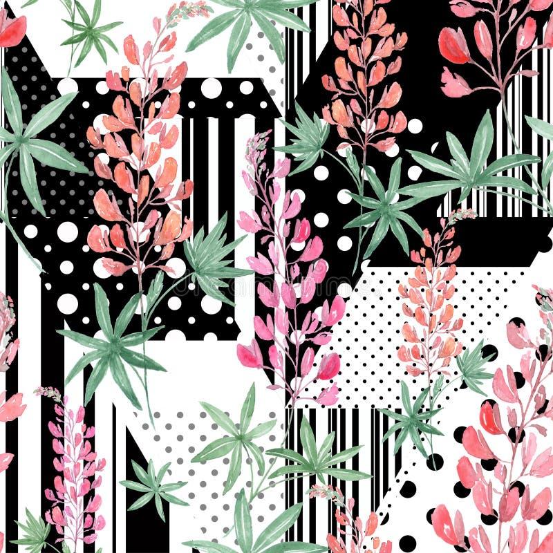 Naadloze Roze waterverfbloemen op abstracte zwart-witte achtergrond vector illustratie
