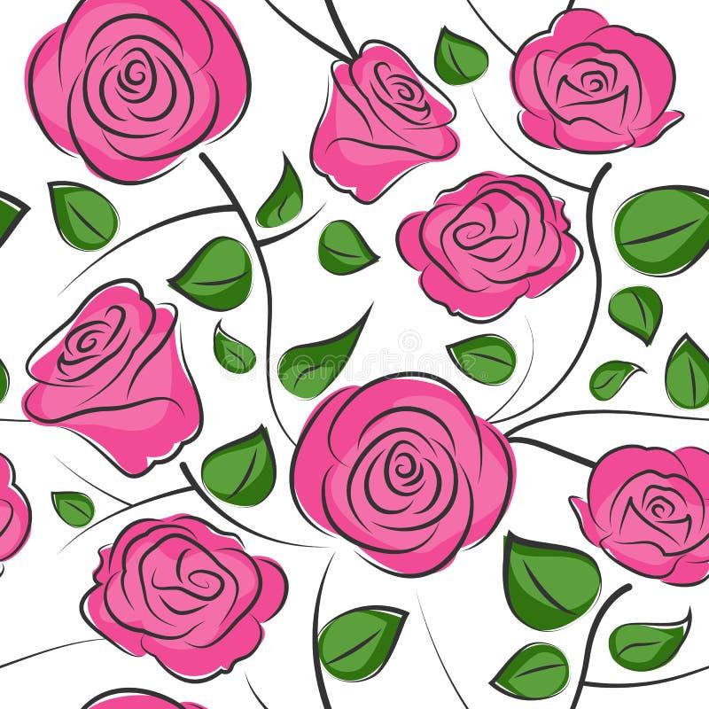 Naadloze rozen achtergrondpatroonvector royalty-vrije illustratie