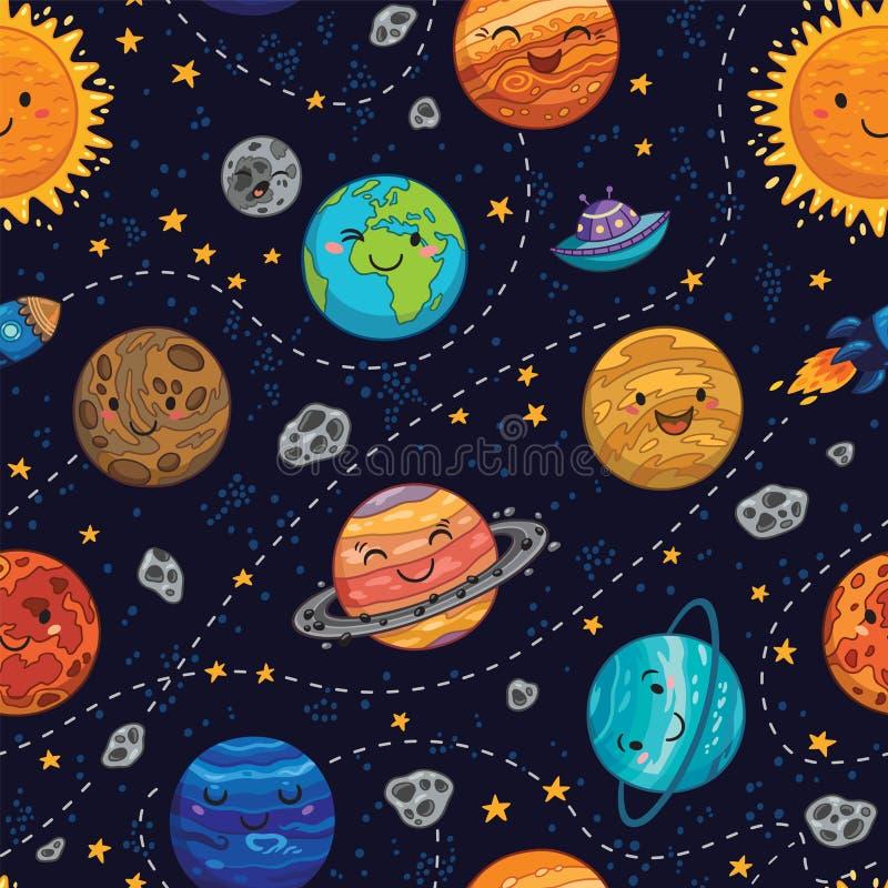 Naadloze ruimtepatroonachtergrond met planeten, sterren en kometen stock illustratie