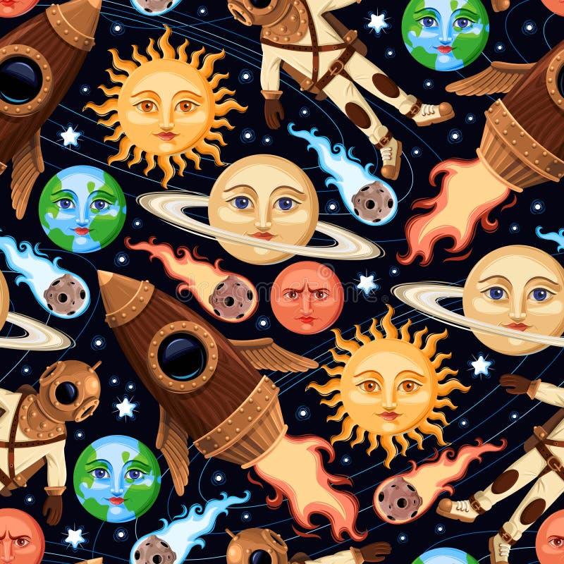 Naadloze ruimtevoorwerpen stock illustratie