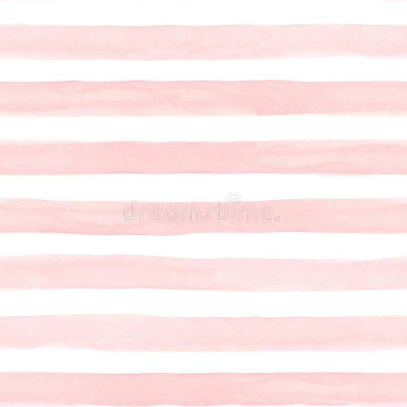 Naadloze samenvatting gestripte geschilderde patroon watercolour hand De witte en kleurrijke stroken van de pastelkleurtoon Horiz stock afbeeldingen