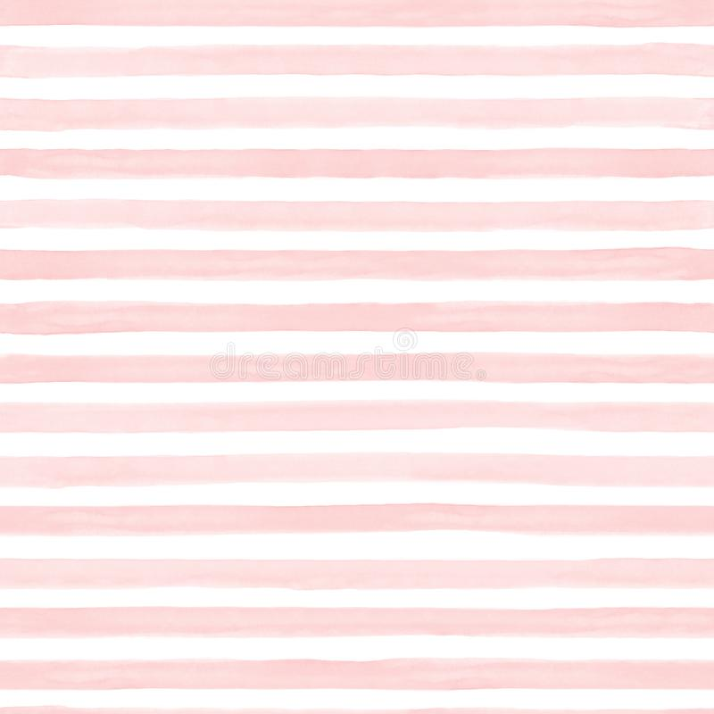 Naadloze samenvatting gestripte geschilderde patroon watercolour hand De witte en kleurrijke stroken van de pastelkleurtoon Horiz vector illustratie