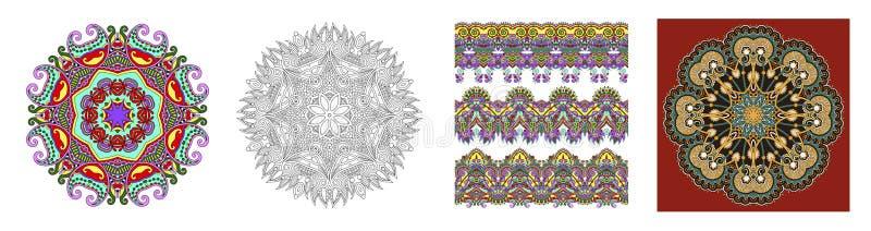 Naadloze sier bloemenstrepen in Indische kalamkaristijl royalty-vrije illustratie