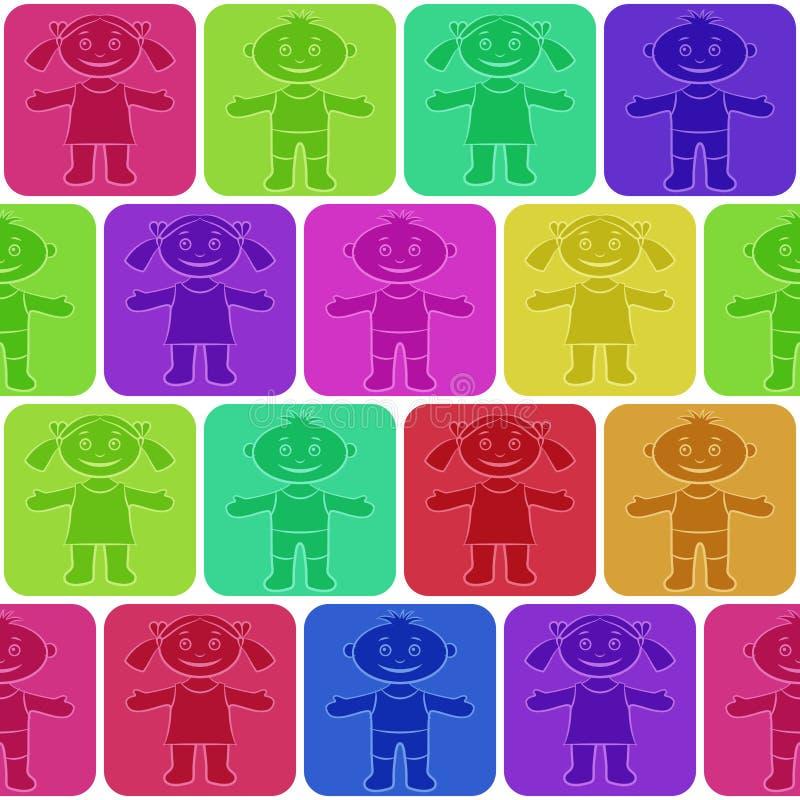 Naadloze, Silhouetkinderen stock illustratie