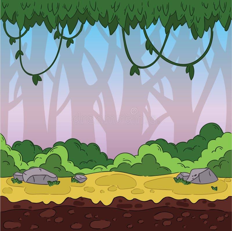 Naadloze spelachtergrond Wildernislandschap voor spelontwerp stock illustratie