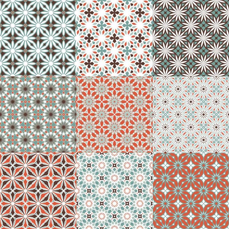 Naadloze spirograph geometrische patronen Reeks kleurrijke variaties royalty-vrije illustratie