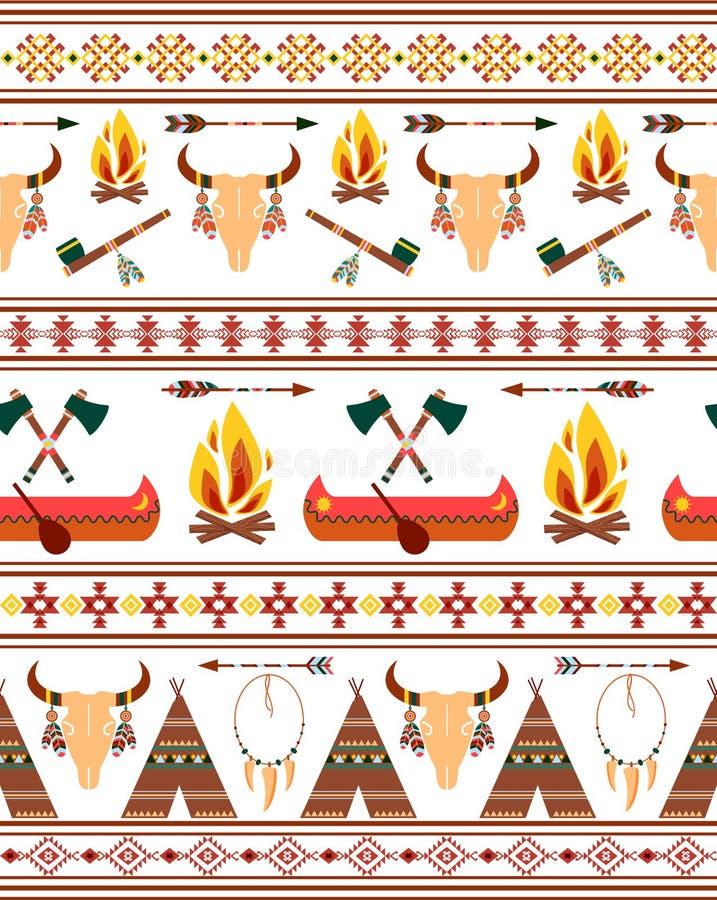 Naadloze Stammen Inheemse Indiaangrenzen vector illustratie