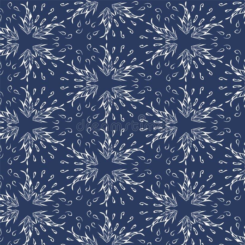 Naadloze sterren - veren - de achtergrond van het bladerenpatroon Vector vector illustratie
