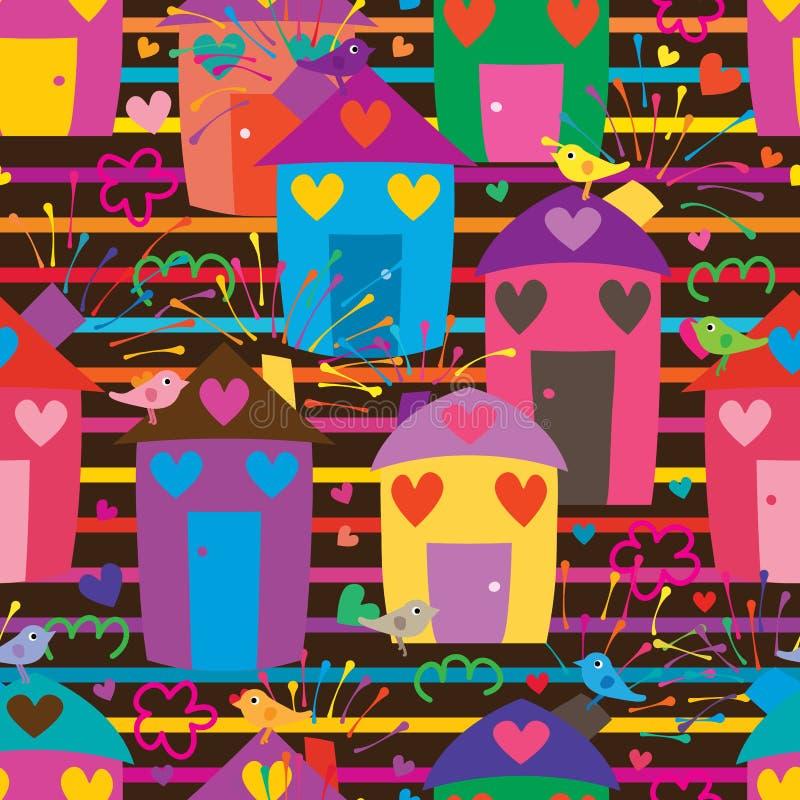 Naadloze streep van de de vogelliefde van het huisvuurwerk de kleurrijke royalty-vrije illustratie
