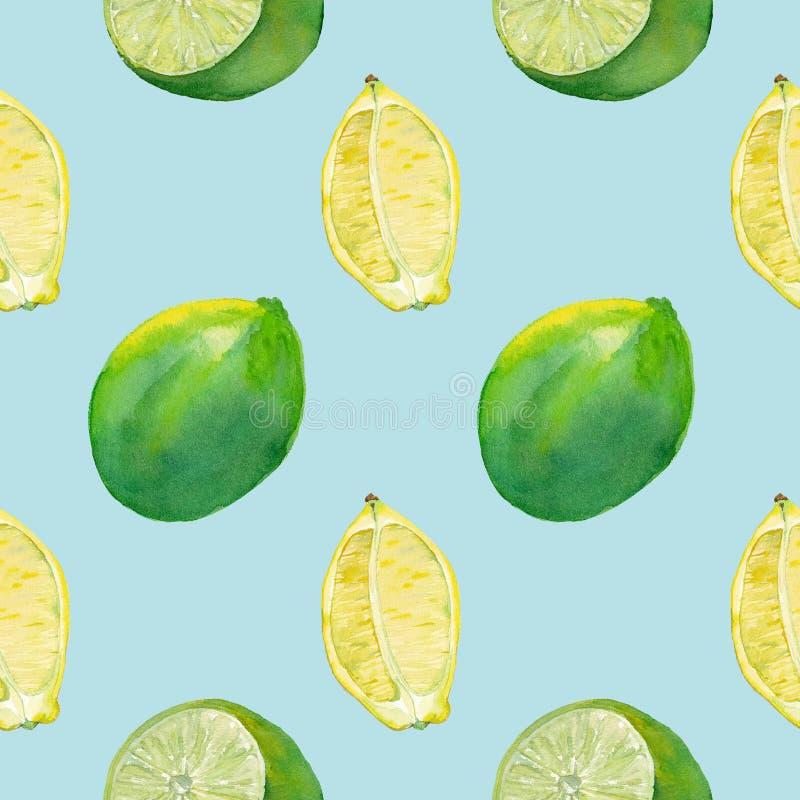 Naadloze tegel met citroen en kalk op lichtblauw stock fotografie