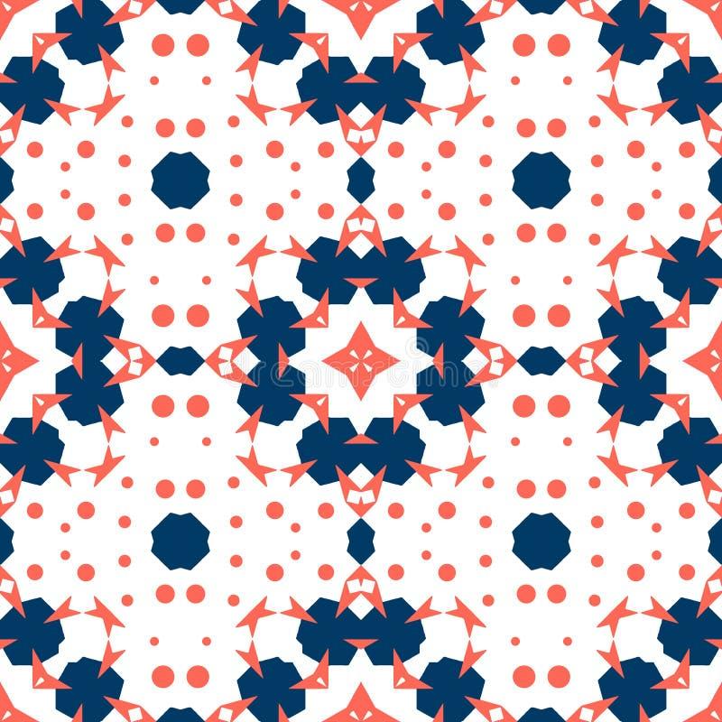 Naadloze tegel Ornament in rood koraal en blauwe kleuren royalty-vrije illustratie