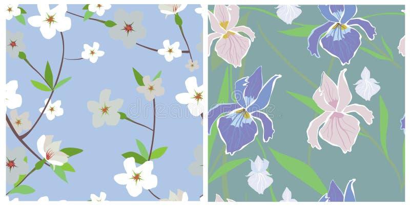 naadloze texturen van bloemen stock illustratie