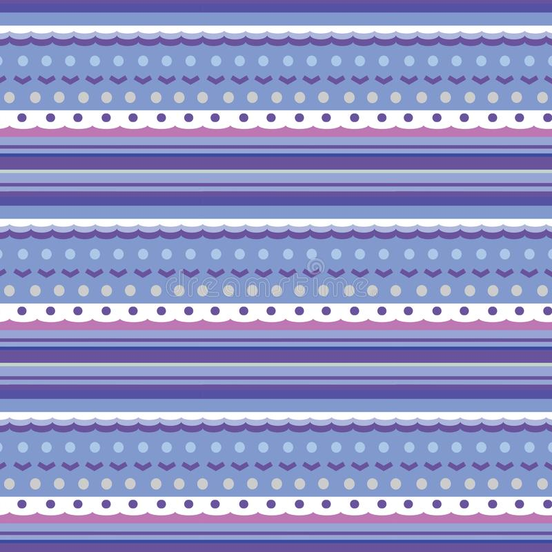 Naadloze textuur als het breien van patroon met diverse strepen, punten en golven stock afbeeldingen