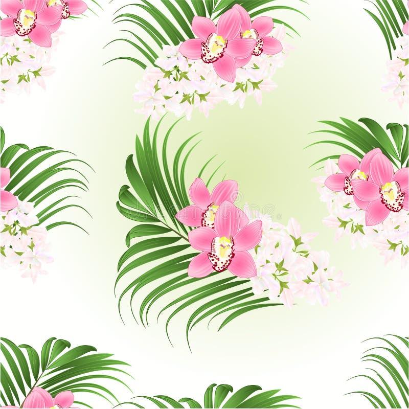 Naadloze textuur, bouquet met tropische bloemen florale schikking roze orchideeën cymbidium en palm vintage vector illustratie stock illustratie