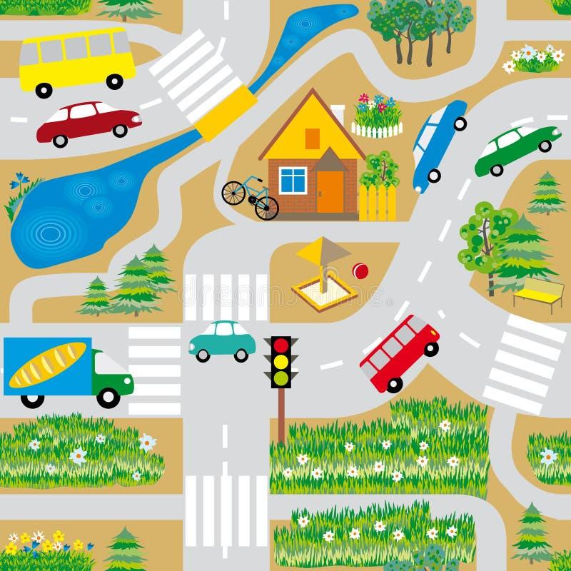 Naadloze textuur die een kaart met wegen, auto's en een huis simuleert stock illustratie