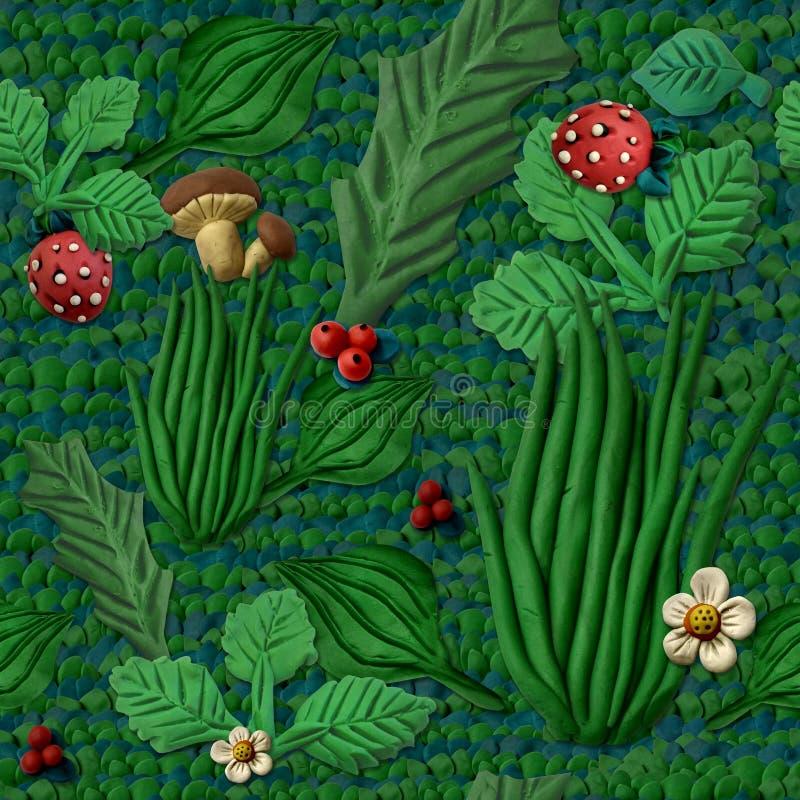 Naadloze textuur die gras en bessen imiteren royalty-vrije illustratie