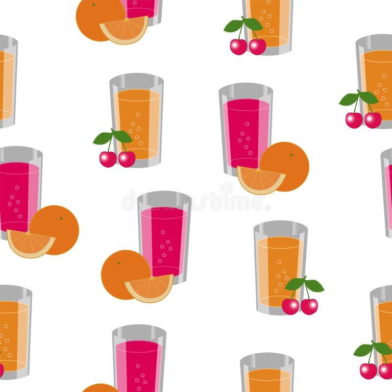 Naadloze textuur die uit vruchten en koppen met sap bestaan vector illustratie