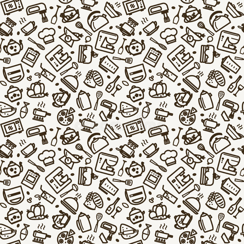 Naadloze textuur - keuken stock illustratie