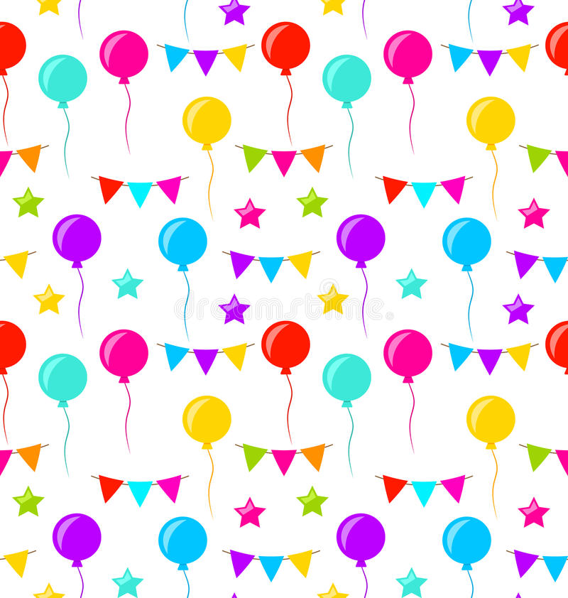 Naadloze Textuur met Bunting Partijvlaggen, Ballons, Sterren stock illustratie