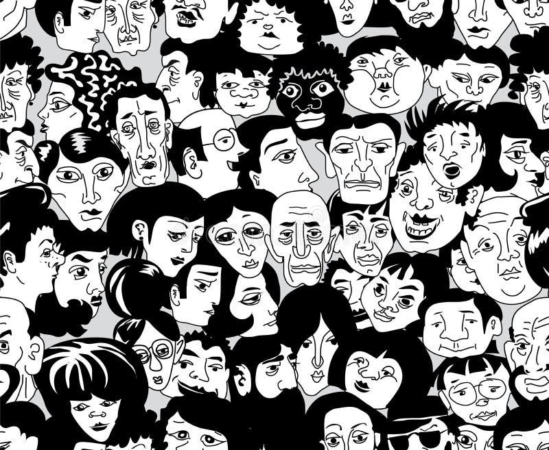 Naadloze textuur met het beeld van de gezichten van mensen vector illustratie