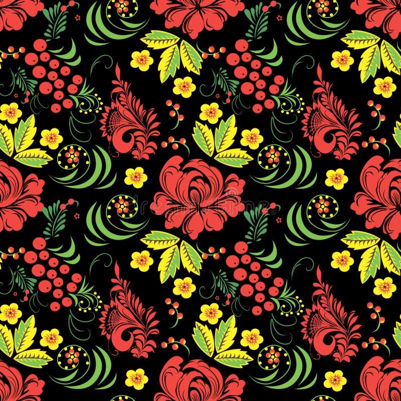 Naadloze textuur met Khokhloma-het schilderen Eps 10 royalty-vrije stock afbeelding